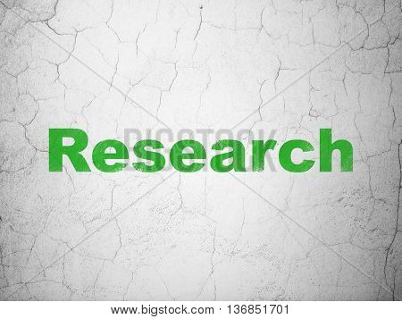 Advertising concept: Green Research on textured concrete wall background