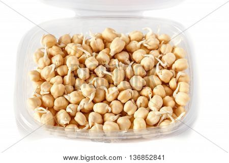 grains of germinated chickpeas in a open container