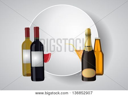 illustration of blank round area with wine bottles