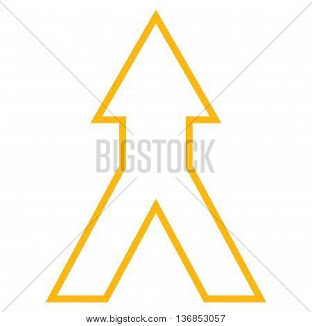 Connect Arrow Up vector icon. Style is stroke icon symbol, yellow color, white background.