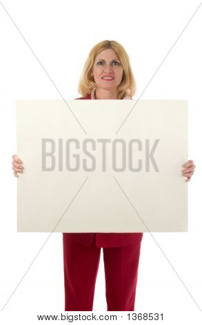Woman Holding Blank Sign Center Front