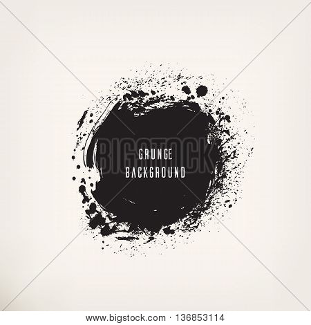 Black ink circle. Set of grunge painting, blot, stain, spray, on isolated background. Abstract vector illustration. Design elements for your projects