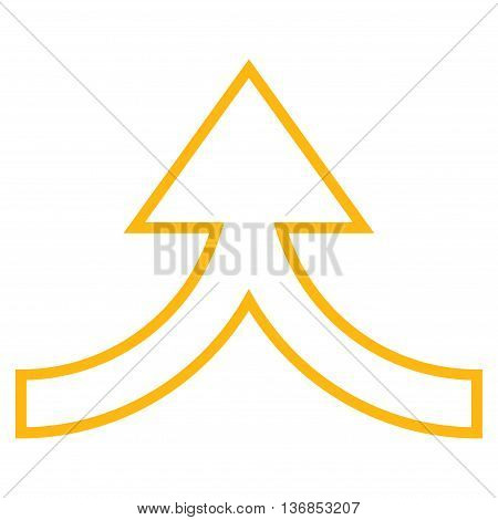Connection Arrow Up vector icon. Style is thin line icon symbol, yellow color, white background.