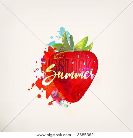 Watercolor red strawberry with lettering. Ink painting. Sweet fruit, berry. Colorful paint blots and stains. Hand drawn concept for your logo, farmers market, organic food, package design, herbal tea