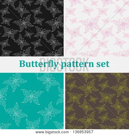 Set of seamless backgrounds with hand drawn colorful butterflies