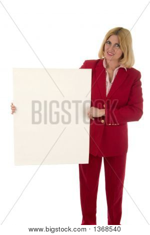 Frau leere Schild