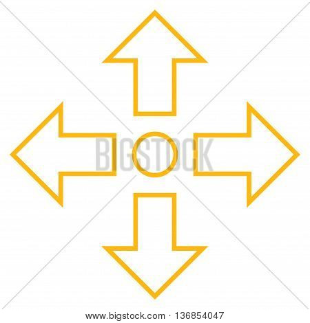 Maximize Arrows vector icon. Style is stroke icon symbol, yellow color, white background.