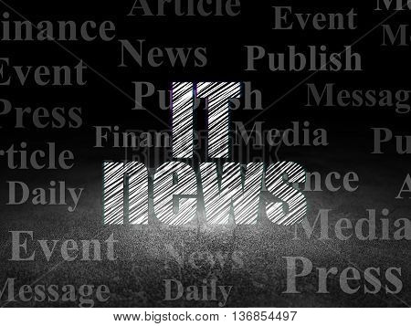 News concept: Glowing text IT News in grunge dark room with Dirty Floor, black background with  Tag Cloud