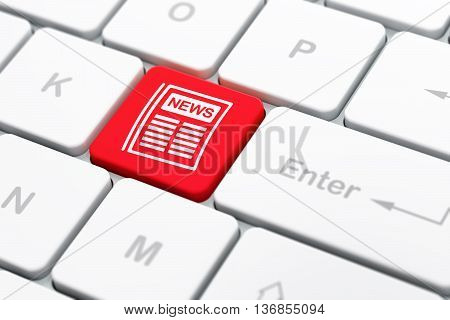 News concept: computer keyboard with Newspaper icon on enter button background, selected focus, 3D rendering