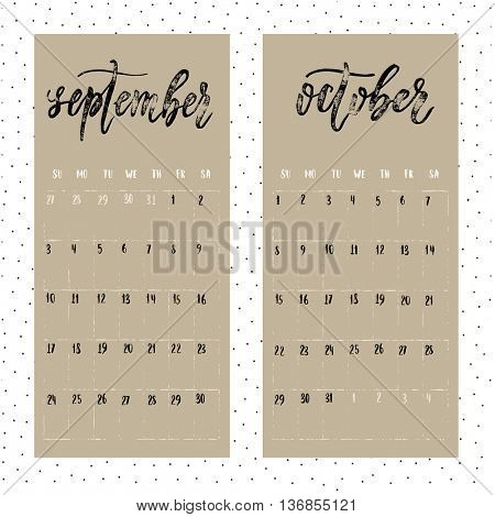 Calendar for 2017 year. Page for September and October. Vector calendar with planner space. Hand drawn months, days of weeks and dates numbers. Vertical calendar grid sheet.