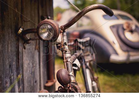 Detail of a Vintage Bike Front-light .