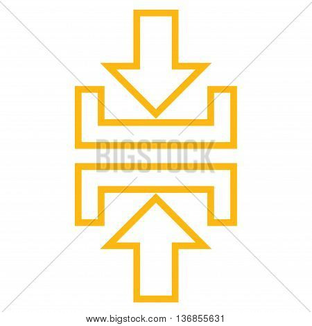 Pressure Vertical vector icon. Style is thin line icon symbol, yellow color, white background.