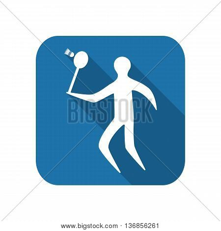 Athlete icon flat silhouette on a white background playing badminton. vector illustration
