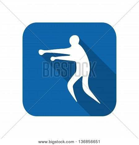 Sportsman man boxer on a white background flat icon. Vector illustration