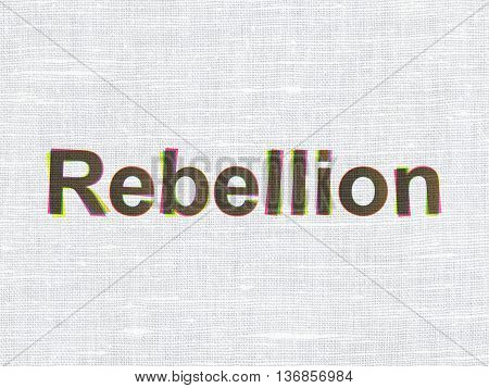 Political concept: CMYK Rebellion on linen fabric texture background
