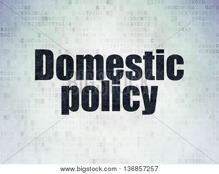 Politics concept: Painted black word Domestic Policy on Digital Data Paper background