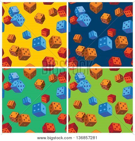 Stylized vector patterns of dice on the theme of chance and fortune
