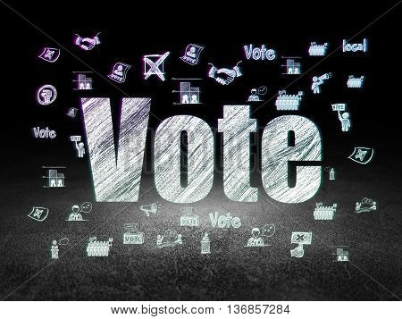 Political concept: Glowing text Vote,  Hand Drawn Politics Icons in grunge dark room with Dirty Floor, black background