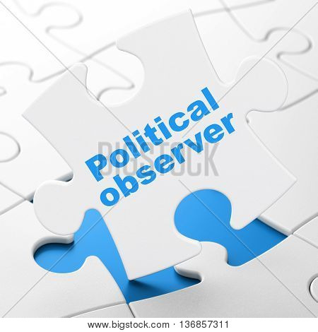 Political concept: Political Observer on White puzzle pieces background, 3D rendering