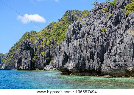 Grey Cliffs on Tapiutan island. El Nido Palawan Philippines