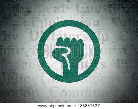 Political concept: Painted green Uprising icon on Digital Data Paper background with  Tag Cloud