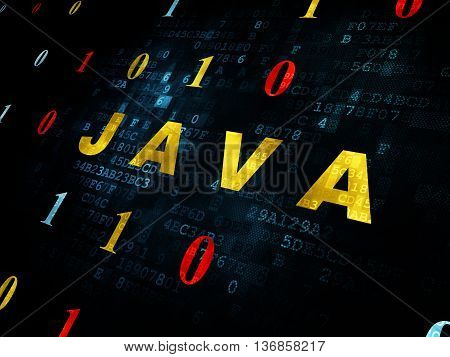 Software concept: Pixelated yellow text Java on Digital wall background with Binary Code