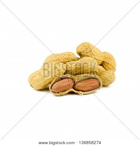 Dried Peanuts In Isolated On White