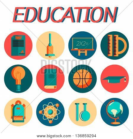 Set of flat education icons for design. Vector illustration, EPS 10