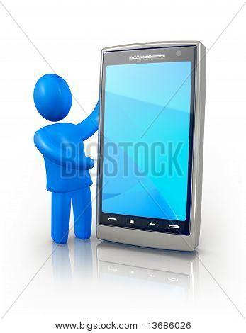 Man showing smart phone screen