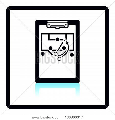 Icon Of Football Coach Tablet With Game Plan