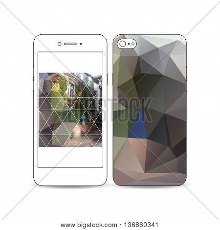 Mobile smartphone with an example of the screen and cover design isolated on white background. Polygonal background, blurred image, urban landscape, street in Montmartre, Paris cityscape