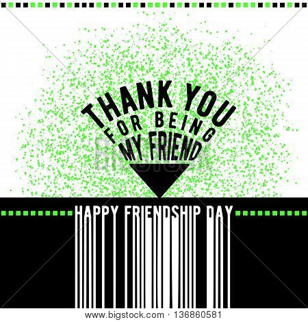 Vector illustration of modern happy friendship day felicitation in fashion geometric style with typography quote triangle text sign like pointer, grunge effect. Thank you for being my friend.