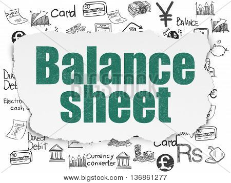 Money concept: Painted green text Balance Sheet on Torn Paper background with  Hand Drawn Finance Icons
