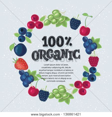 Fruits in a circle. Gardening, horticulture. Organic Food banner. Vector illustration and lettering
