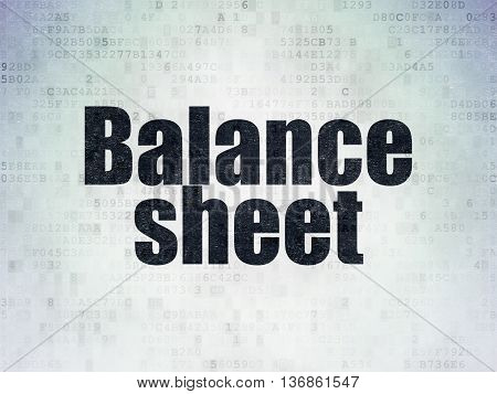 Money concept: Painted black word Balance Sheet on Digital Data Paper background