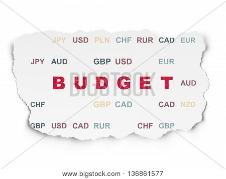 Currency concept: Painted red text Budget on Torn Paper background with  Currency