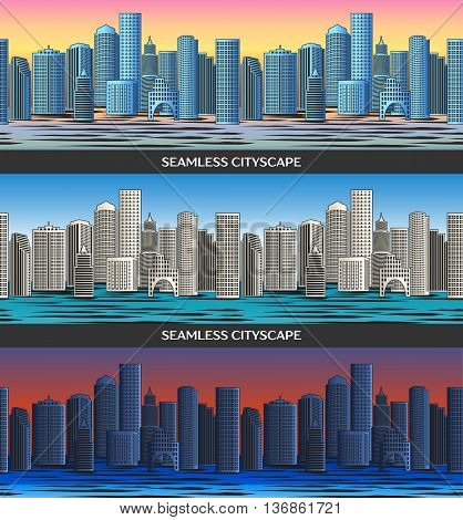 Seamless pattern with Cityscape. Vector illustration, EPS 10