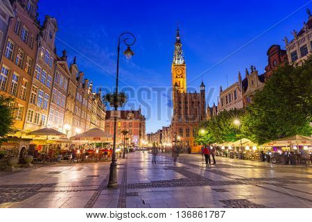 GDANSK, POLAND - 21 JUNE 2016: Architecture of the Long Lane in Gdansk at night. Baroque architecture of the Long Lane is one of the most notable tourist attractions of the city.