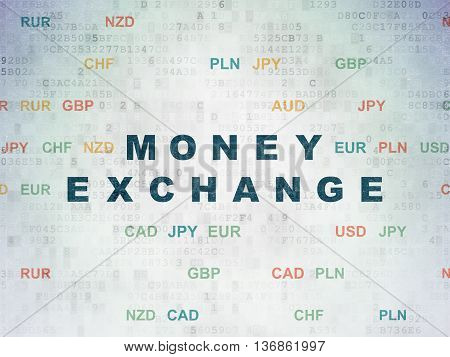 Currency concept: Painted blue text Money Exchange on Digital Data Paper background with Currency