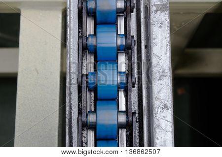 Blue conveyor line on factory conveyor line.