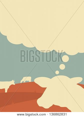 the thinking cow - vector illustration