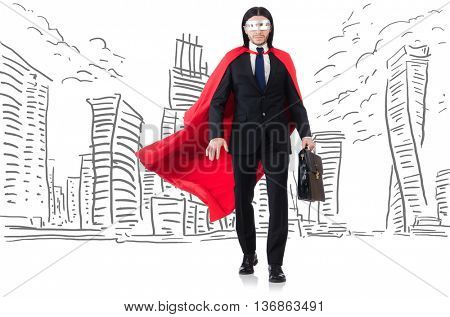 Man in red cover with skyscapers at the background