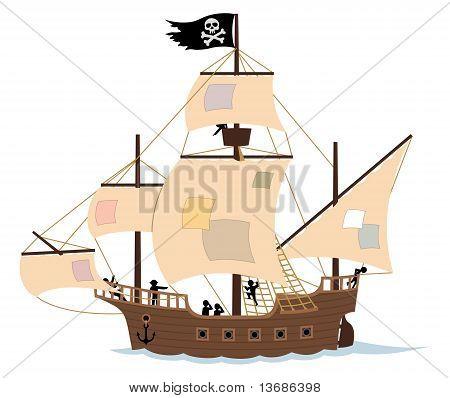 Barco pirata en blanco