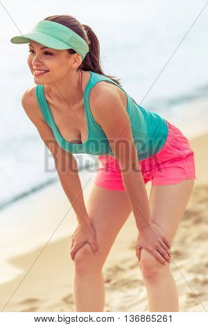 Beautiful Sport Girl On The Beach