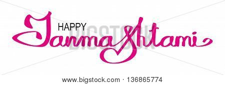Lettering text for Krishna Janmashtami. Isolated on white illustration