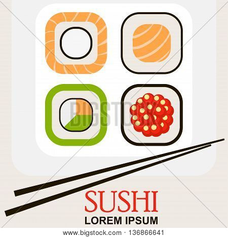 sushi roll with chopsticks, concept of snack  susi icon, exotic nutrition, restaurant menu, sea food vector picture