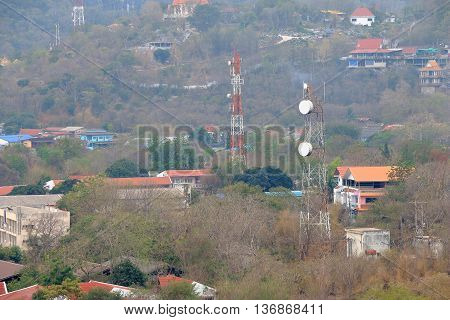 communication tower view of landscape rural areas