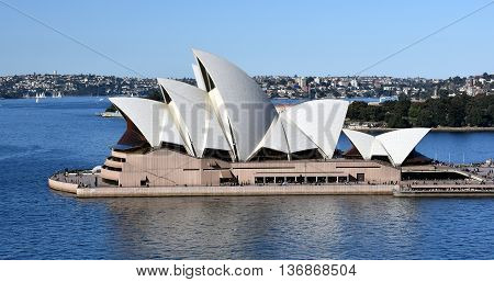 Sydney Australia - July 3 2016: Sydney Opera House view from Harbour Bridge. The Sydney Opera House is identified as one of the 20th century's most distinctive buildings.