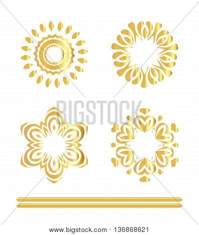 Traditional Golden Decor On White Background