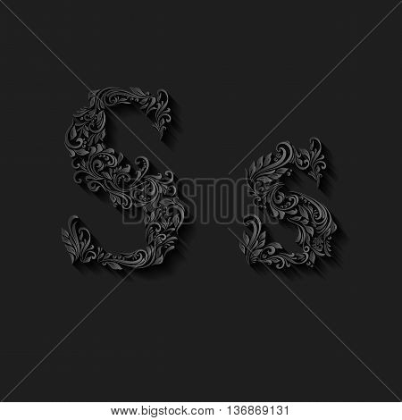 Handsomely decorated letter s in upper and lower case on black